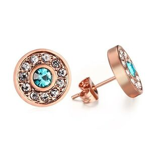 18K-Rose-Gold-Plated-Ear-Studs-12MM-Women-039-s-Stainless-Steel-CZ-Inlaid-Earrings
