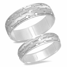His Hers 14k White Gold Mens Womens Matching Bride Groom Wedding Ring 2 Band Set
