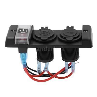 Car Marine Boat 3-Gang Circuit Red LED Rocker Switch Panel Breaker W2T5