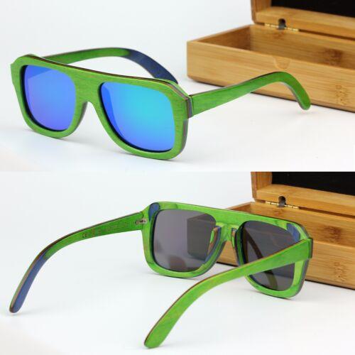 Square POLARIZED Lens Skateboard Plywood Bamboo Sunglasses UV400 WOOD BOX