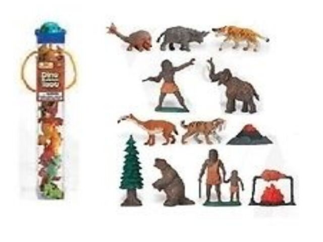 Prähistorisches Leben - Vorzeit (12 Minifiguren) Tubos-Röhren Safari Ltd 681004