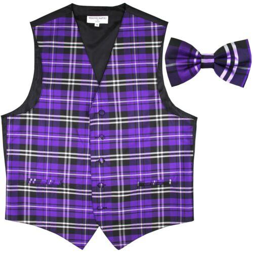 New Men/'s Plaid Tuxedo Vest Waistcoat /& Bow tie Purple Wedding Prom formal