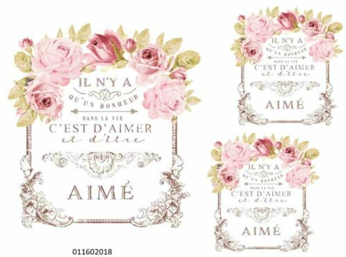 VinTaGe IMaGe XL PaRiS FRenCh FLoRaL SiGN ShaBby WaTerSLiDe DeCALs FuRNiTuRe