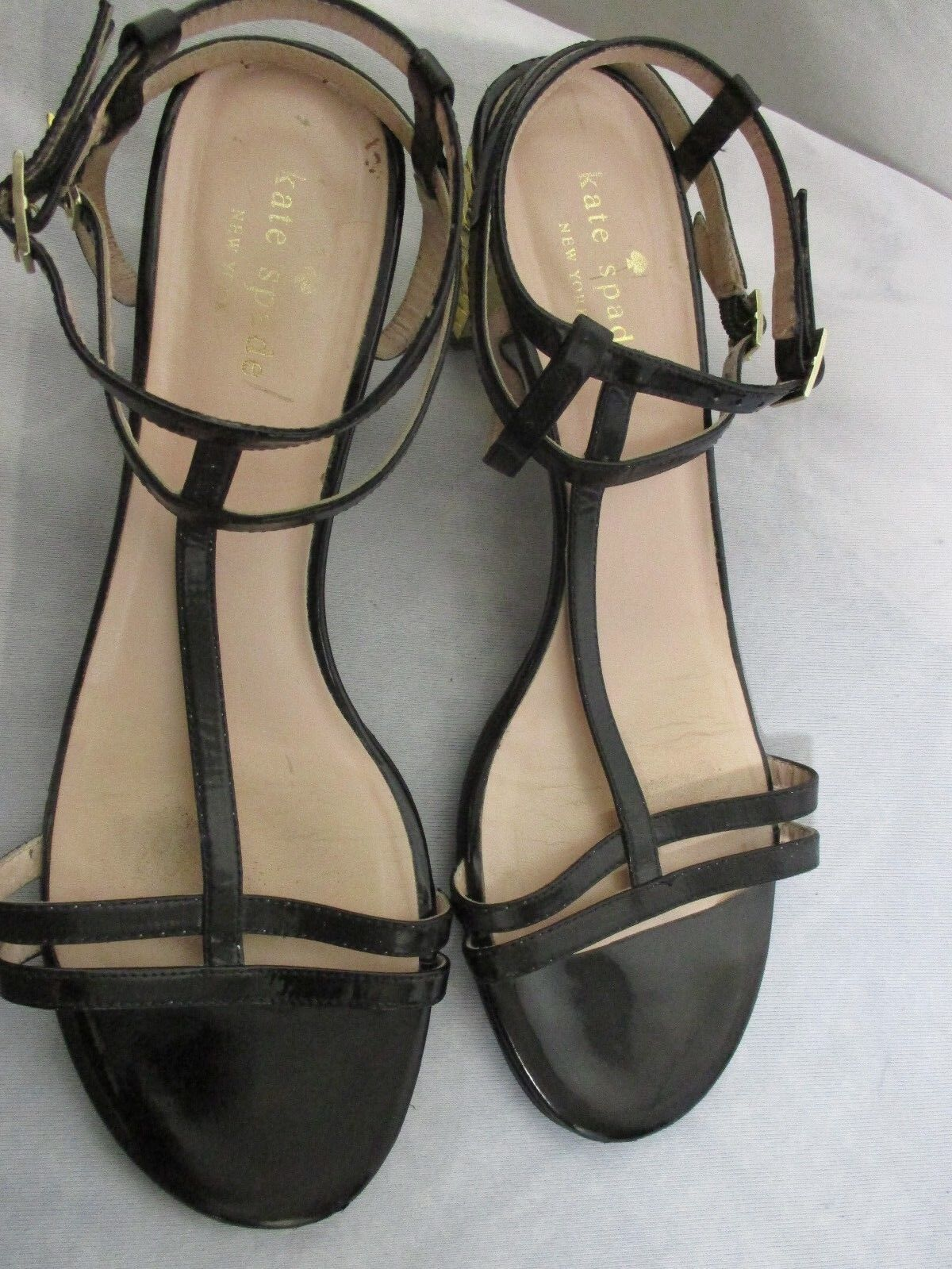 KATE SPADE Women's 'Annmarie' Gold Heel Leather Strappy Sandals Size 8B