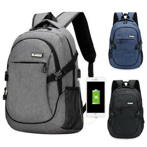Anti-theft-Mens-USB-with-Charger-Port-Backpack-Laptop-Notebook-Travel-School-Bag