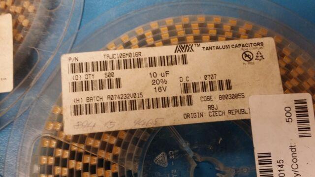 TAJC106M016R AVX Cap Tant Solid 10uF 16V C CASE 20/% SMD ROHS 25 PCS