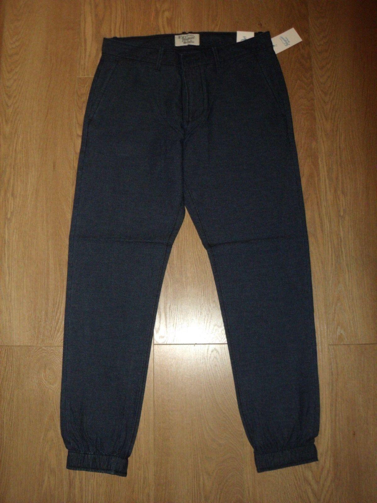 Original Penguin Slim Fit Cargo Trousers Light Cotton Dark Denim W32 R New