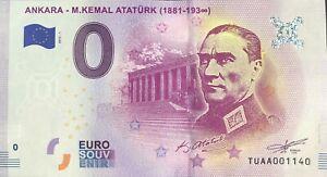 BILLET-0-EURO-ANKARA-M-KEMAL-ATATURK-1881-193-TURQUIE-2019-1-NUMERO-DIVERS
