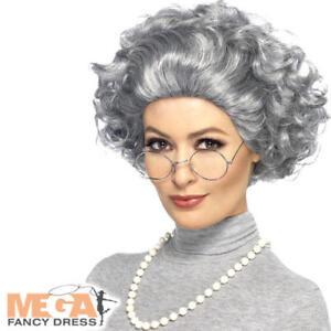 Granny Wig Glasses Necklace Set Old Lady Fancy Dress Adults Womens ... 561b9d5e5c