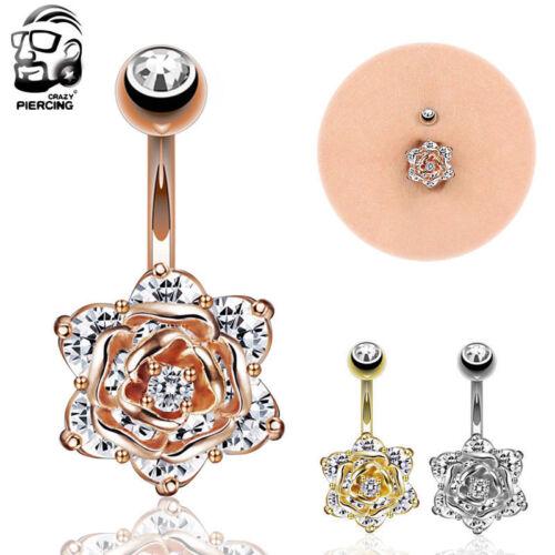 14 g Belly Button Anneau Acier Chirurgical Fleur Rose Navel Ring Body Piercing
