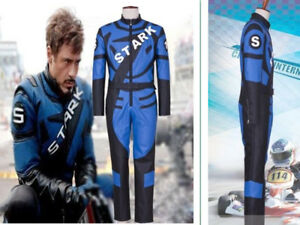 Iron Man Cosplay Tony Stark Costume Men Racing Uniform Suit Blue Jumpsuit Outfit
