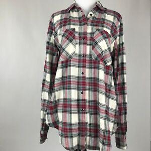 690b367b2b04 Topshop Tall Women Red White Plaid Snap Button Long Sleeve Shirt sz ...