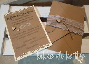 Partecipazioni Matrimonio Kraft.Partecipazioni Shabby Chic Invito Vintage Partecipazioni