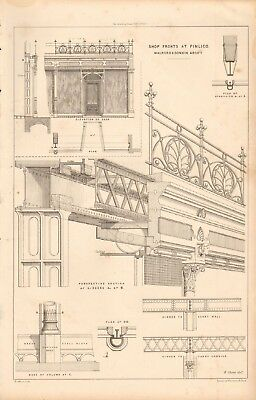 Rapture 1867 Antique Architecture Shop Fronts At Pimlico And Digestion Helping Design Print