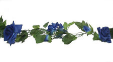 BLUE Rose Garland ~ Silk Wedding Flowers Arch Gazebo Reception Decorations
