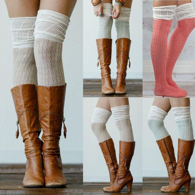 New Fashion Women Cotton Knit Over Knee Long Boot Thigh-High Warm Socks Leggings