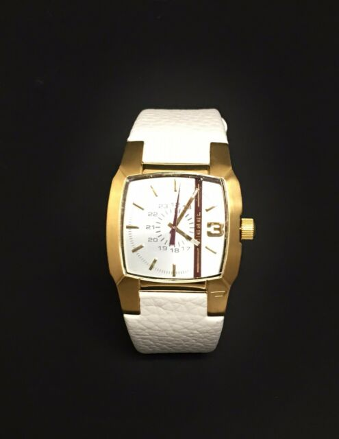 55b34e0f94 DIESEL Gold Tone White Leather Band Watch Dz1538 for sale online | eBay