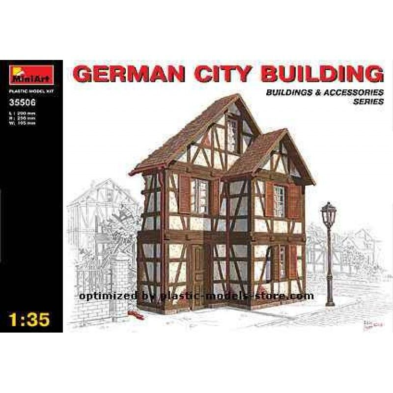 PLASTIC MODEL BUILDING GERMAN CITY BUILDING WWII BUILDING 1 35 MINIART 35506