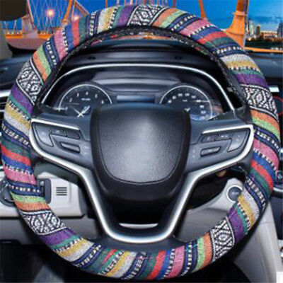 Black and white Boho Steering Wheel Cover Cute Car Steering Wheel Cover for Women Men and Girls,Ethnic Style Coarse Flax Cloth,Anti-Slip Absorbing Sweat,Fit for Suvs,Sedans,Cars,Trucks 14.5-15.5