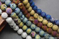 """Metallic Titanium Coated Druzy Quartz Agate Gemstones Round Beads 8mm 10mm 15"""""""
