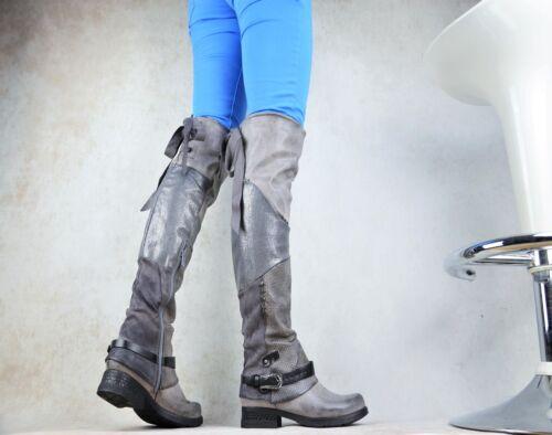 Chaussures femmes createur Biker Boots Cuissardes boucles Rivets Doublure