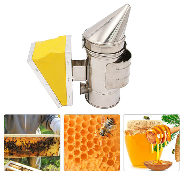 Beekeeping Smoker Stainless Steel Beehive Smoker Bee Repellent with Heat Shield Protection