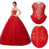 Red Beaded Plus Size Long Bridal Strapless Ball Gown Wedding Dresses 16 18 22 24