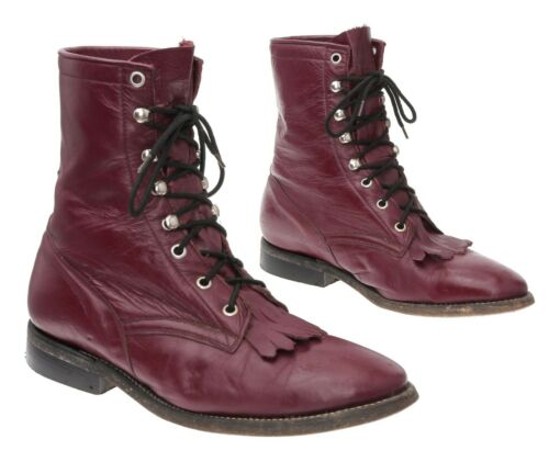 COWTOWN Cowboy Boots 7.5 D Mens RED Leather Packer