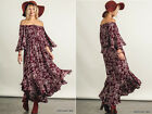 UMGEE Floral Off Shoulder Burgundy Long Maxi Dress Peasant Gypsy Boho Hippie S-L