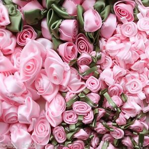 Light Pink Ribbon Roses Pink Or Green Leaves Large Or Small Ebay