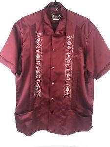 Men-039-s-Guayabera-red-Embroidered-Copacabana-Cigar-Wedding-Shirt-2XL-48-Vintage