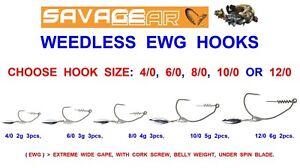 Savage Gear Weedlees EWG Hooks #4//0 #12//0 Soft baits accesories NEW 2019