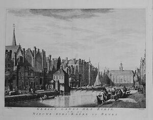 Antique-map-Gezigt-langs-het-rokin-op-de-nieuwe-zyds-kapel-en-beurs