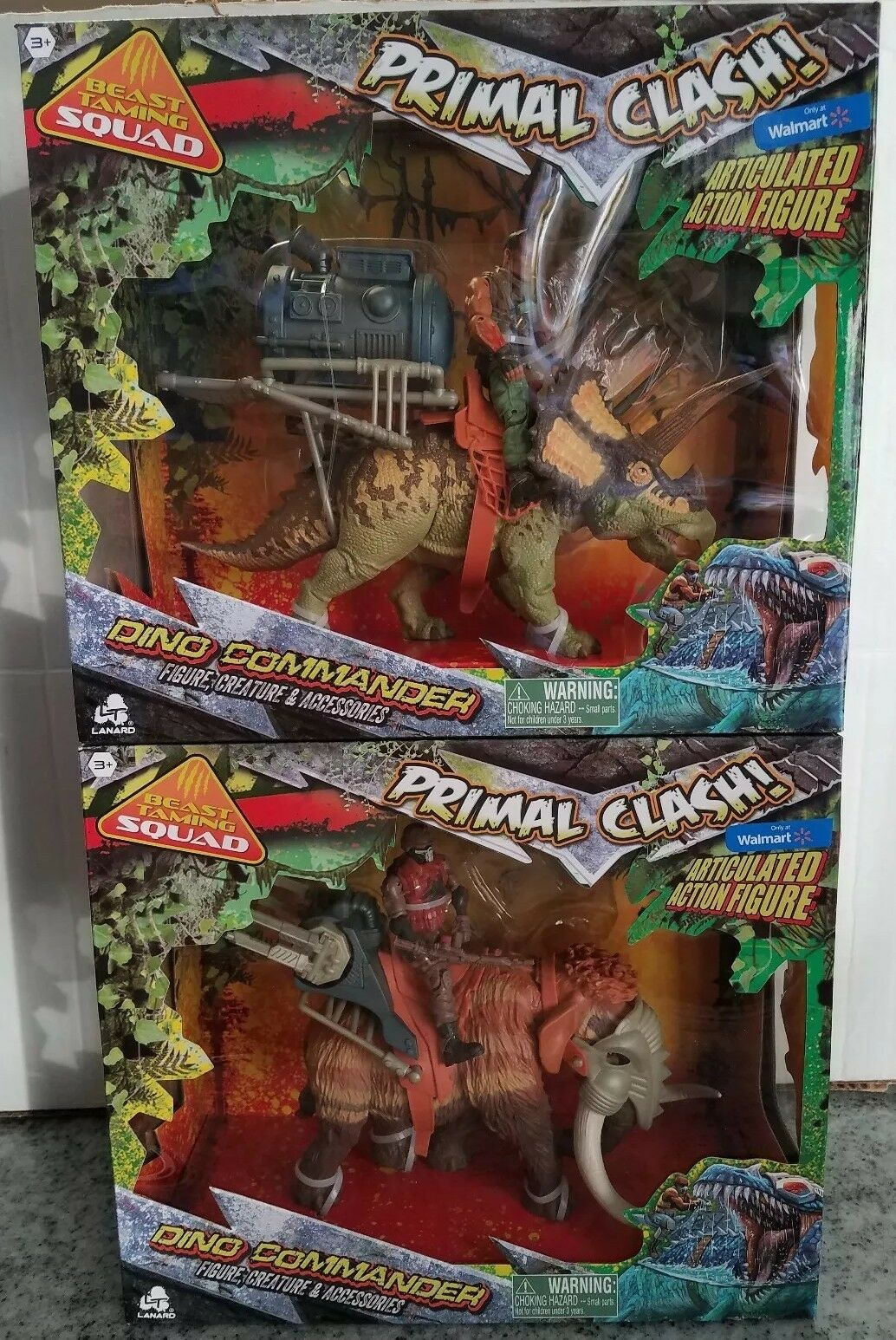 Lanard Primal Clash Dino commandant lot de 2 Jurassic 2018 Beast Taming figures