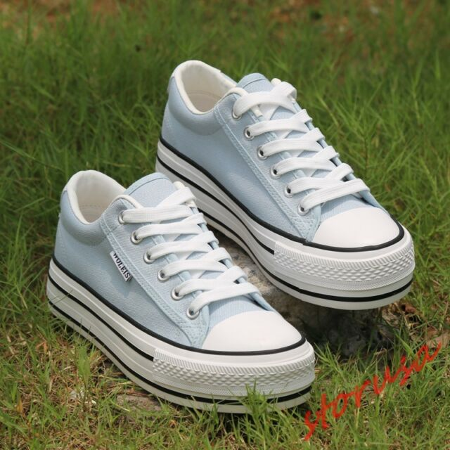 Womens Low Top Running Lace Up Platform Casual Canvas Sneakers Creepers Shoes sz