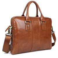 Tiding Men's Real Leather Briefcase Attache Messenger Bag Laptop Tote Handbag