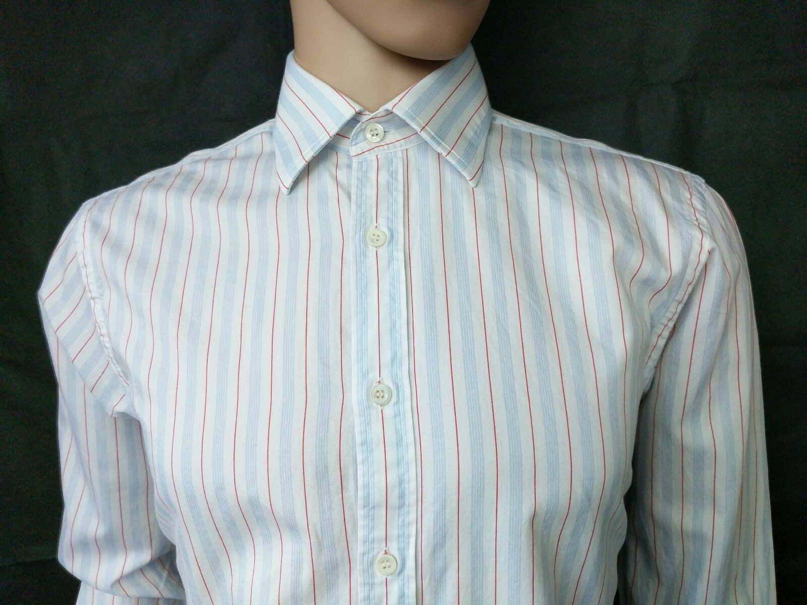 Gieves & Hawkes Mens Dress Shirt New Fit Size 16 41cm White bluee Stripe RRP