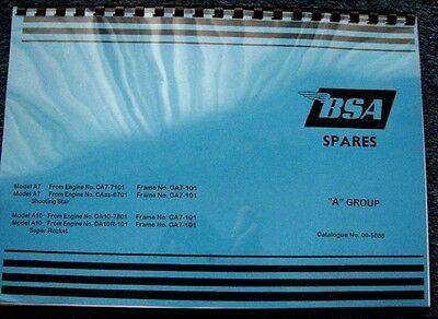 BSA A7 SHOOTING STAR A10 SUPER ROCKET /& ROCKET GOLD STAR PARTS BOOK 1959-63 BP91