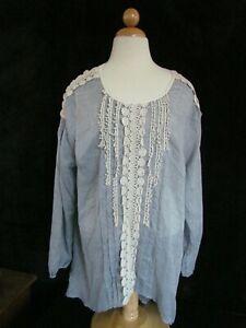 bbf27a3b444 Indigo Soul tunic top size XL blouse BOHO Peasant style semi-sheer ...