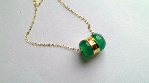 Halskette Neu IN Gelbgold 18 Karat Mit Anhänger Jade Grün Und Gold 24 Karat