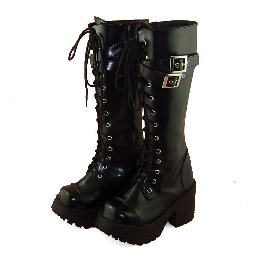 schwarz punk gothic lolita stiefel boots Shoes Schuhe high heel retro rock EMO