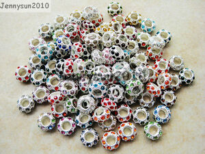 Big-Hole-Crystal-Rhinestone-Pave-Silver-Rondelle-Spacer-Beads-Fit-European-Charm