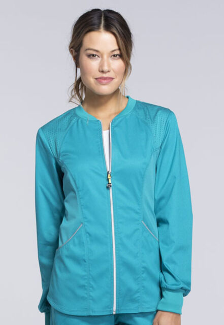 Teal Blue Cherokee Scrubs LUXE SPORT Zip Front Warm Up ...