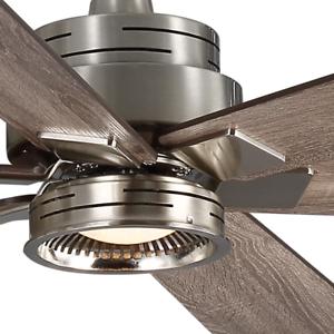70 Quot Large Lodge Ceiling Fan Remote Brushed Nickel Loft Light Grey Driftwood Ebay