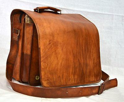 Puntuale Vintage Capra Pelle Messenger Vera Cartella Laptop Originale Marrone Briefcase.