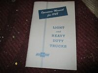 1948 Chevrolet Trucks Factory Original Owners Manual Nice Original Rare