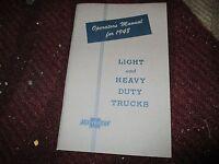 1948 Chevrolet Trucks Factory Original Owners Manual Nice Original Rare