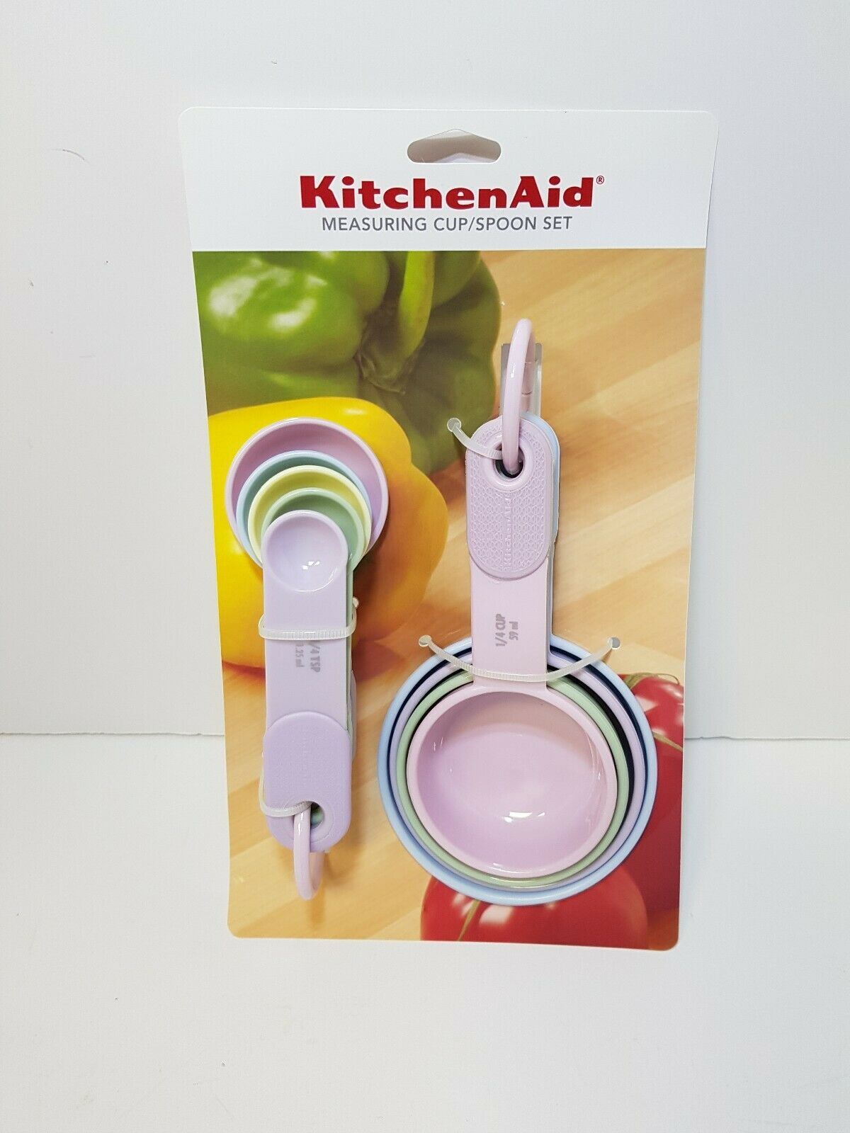 KITCHENAID PINK AND PASTEL COLORS MEASURING CUPS AND MEASURING SPOONS 9PC  SET