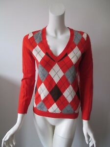 J-Crew-Orange-Gray-Argyle-V-Neck-Long-Sleeve-Pullover-Wool-Blend-Sweater-S