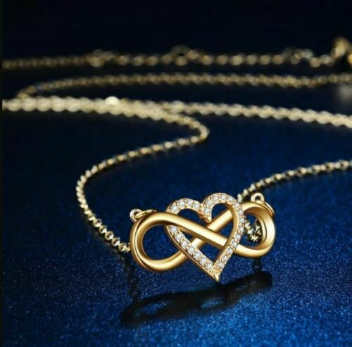 Details about  /1.00Ct Round Cut VVS1//D Heart Infinity Pendant Free Chain 14K Yellow Gold Finish
